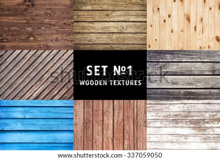 wood texture. set of wooden textures. background old panels. close up of wall made of wooden planks. - stock photo