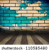 wood texture with brick wall. background old panels - stock photo