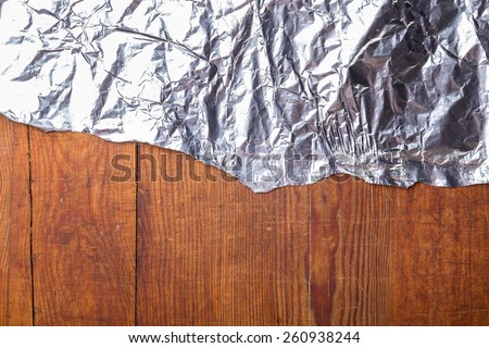 wood texture with metalic foil texture - stock photo