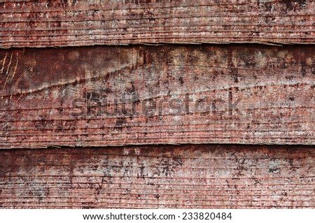 Wood texture with weathered look old and dark red paint vintage - stock photo