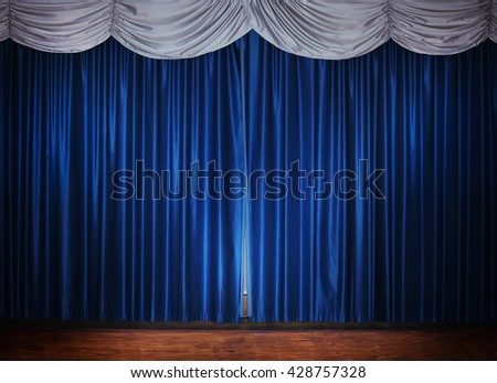 wood theater stage with blue silver curtain - stock photo