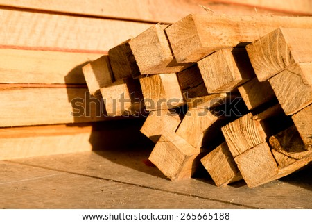 Wood timber construction material, Stack of building lumber at construction Site - stock photo