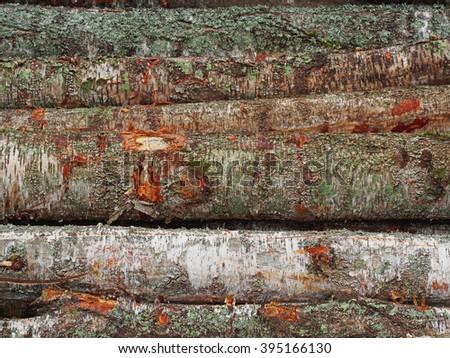 Wood timber pile, wooden lumber log background - stock photo