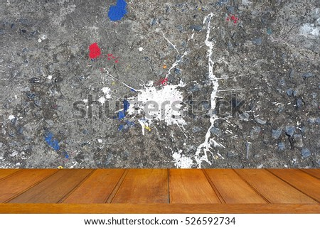wood top on grunge cement wall  - painting spot white grey background