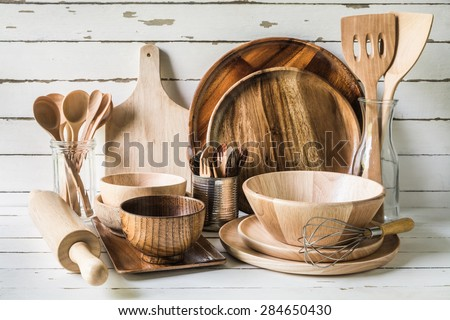 Wood utensils on wood table background