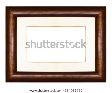 Wood vintage picture and photo frame isolated on white background