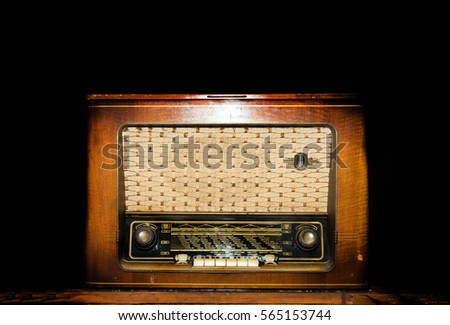 wood vitage old radio in dark background