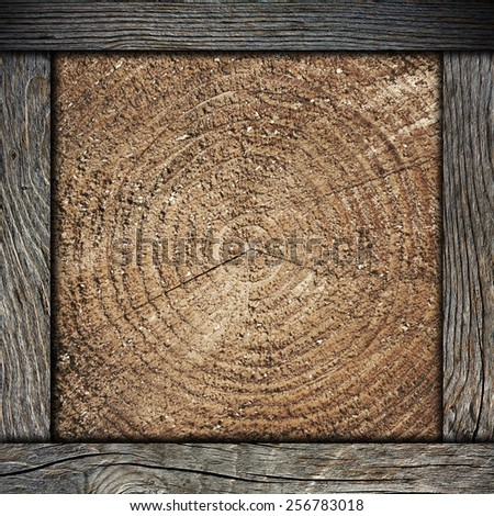 wood wall background with frame - stock photo