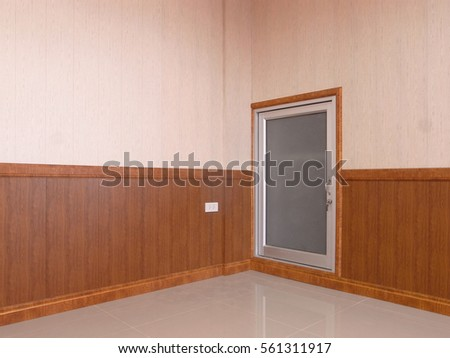 Wood wall , door and floor decoration interior