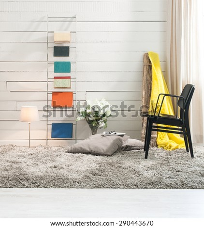 wood wall interior contemporary room - stock photo