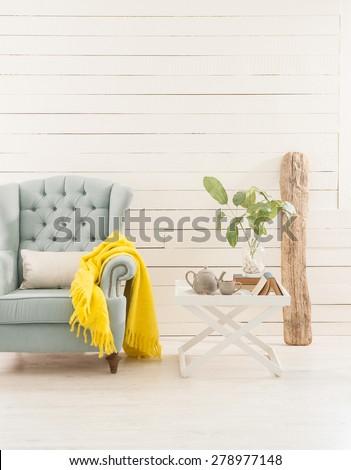 wood wall interior  decor - stock photo