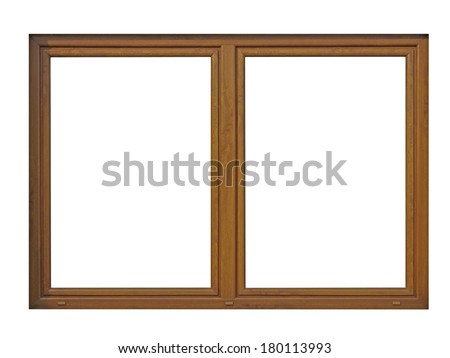 wood window frame isolated on white