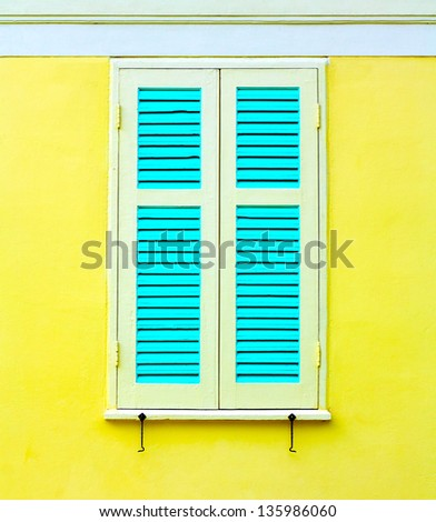 wood window with colorful - stock photo