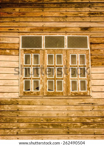 wood windows - stock photo