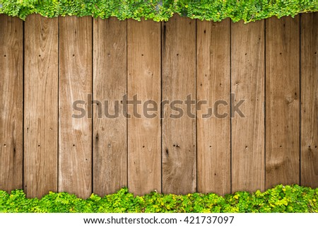 wood with green leaf background