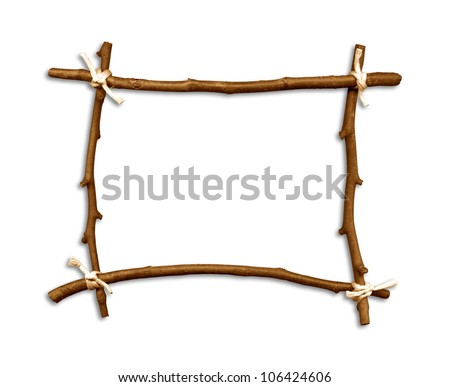 Wood Wooden Frame Branch Branches Scrapbooking Stock Photo (Royalty ...