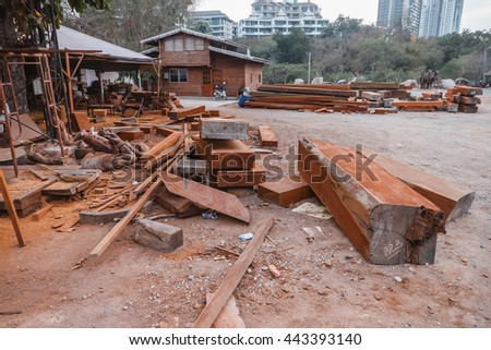Wood Workshop at Sanctuary of The Truth. Pattaya, Chonburi Province, Thailand