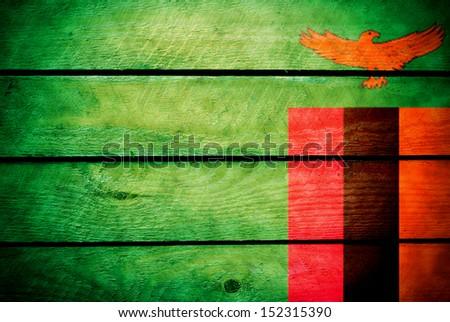 wood Zambia flag - stock photo