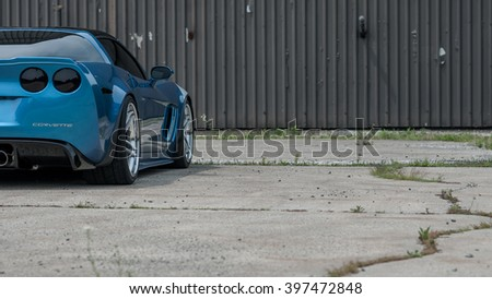 Woodbridge,NJ - May 2015: The Corvette Grand Sport as seen in Jetstream Blue. Rear side view  - stock photo