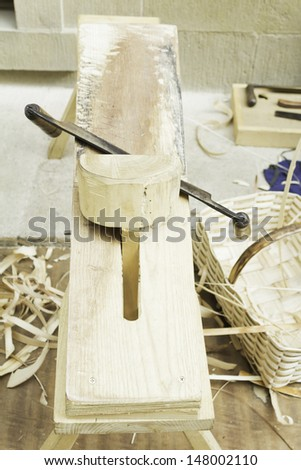Woodchip mold and sharpen, crafts and object - stock photo