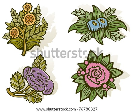 Woodcut Flowers - Raster Version - stock photo