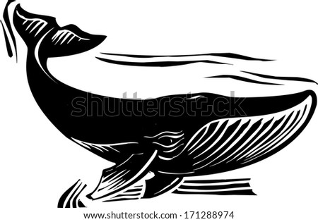 Woodcut style baleen whale flipping its tail - stock photo
