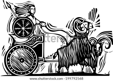 Woodcut Style image of the Norse Goddess Frigg or Frigga riding in a chariot pulled by goats. - stock photo