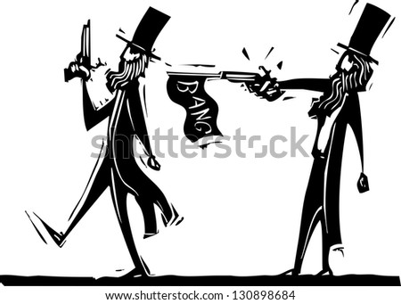 Woodcut style image of two men in a duel and one cheating.