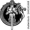 Woodcut style medieval knight in a dragon circle. - stock photo