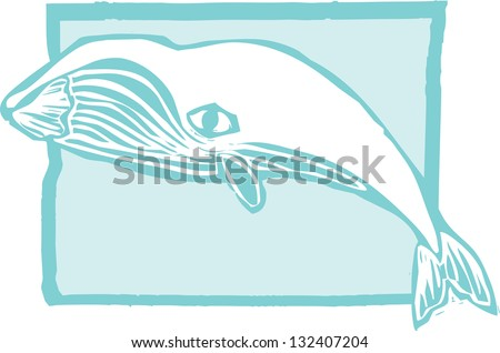 Woodcut vintage style image of a bowhead whale. - stock photo