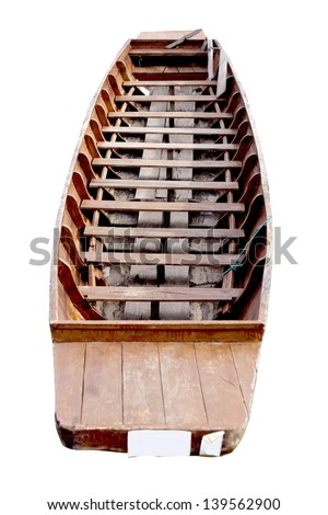 Woodden boat isolated on the lake of Payao,Thailand. - stock photo
