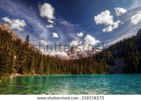 Wooded blue green mountain lake shore with dark blue sky, glacier, and puffy white clouds