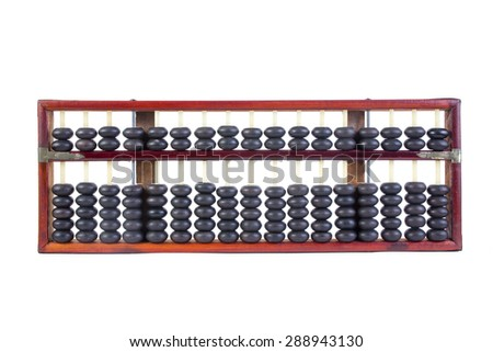 Wooden abacus beads and Thai baht Coins isolated on white background. - stock photo