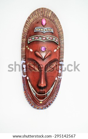 Wooden African Mask on a White Background