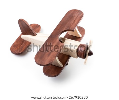 Wooden airplane model from above view isolated  - stock photo