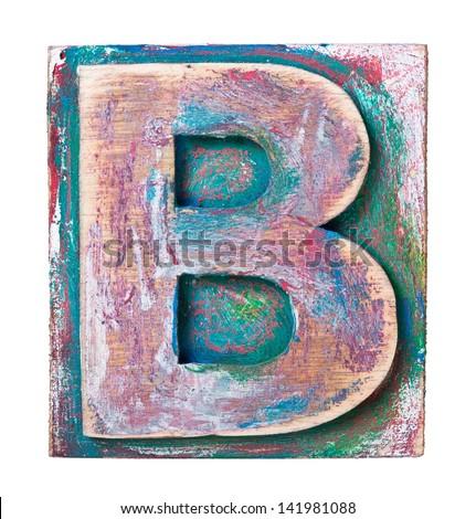 Wooden alphabet block, letter B - stock photo