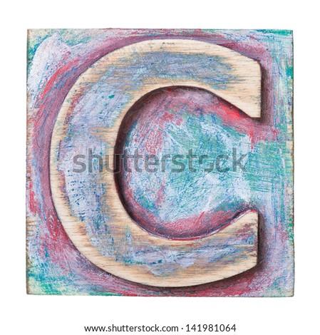 Wooden alphabet block, letter C - stock photo