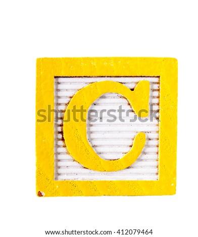 Wooden alphabet block letter C  isolated on white - stock photo