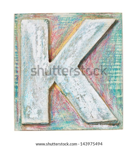 Wooden alphabet block, letter K - stock photo