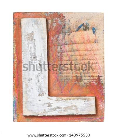 Wooden alphabet block, letter L - stock photo