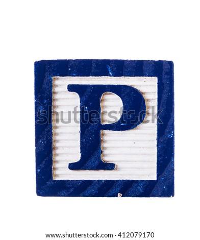 Wooden alphabet block letter P isolated on white - stock photo