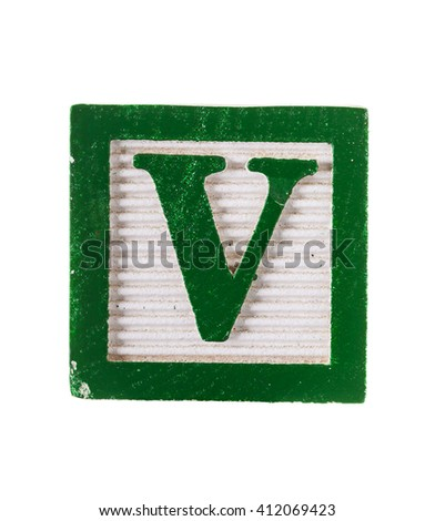 Wooden alphabet block with letter V isolated on white