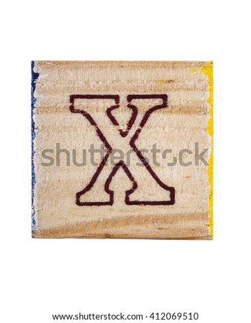 Wooden alphabet block with letter X isolated on white