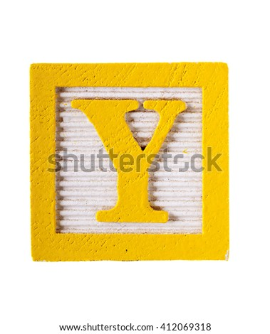 Wooden  alphabet block with letter Y  isolated on white - stock photo