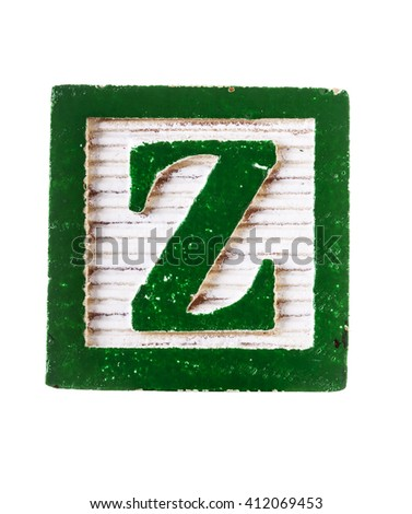 Wooden  alphabet block with letter Z isolated on white