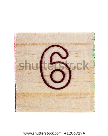 Wooden alphabet block with number 6 isolated on white
