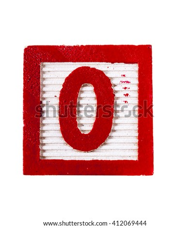 Wooden  alphabet block with number 0 isolated on white - stock photo