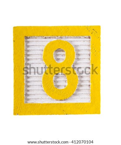 Wooden alphabet  block with number 8 isolated on white