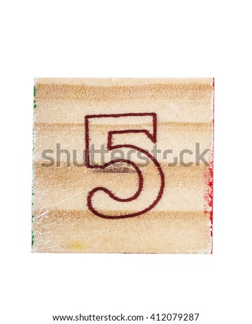Wooden alphabet block with number 5 isolated on white