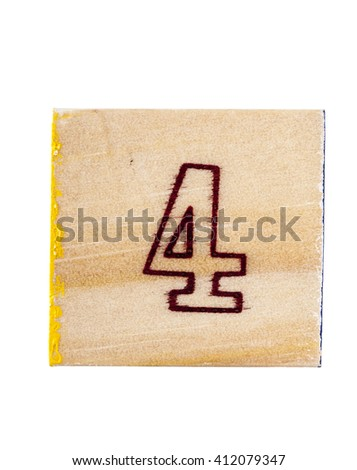 Wooden alphabet block with number 4 isolated on white